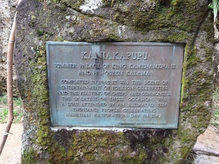 A plaque detailing King Kamehameha's summer palace
