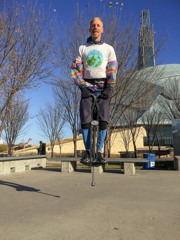 Pogosticking 10km through Winnipeg