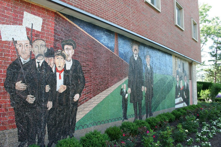 A mural commemorating Sacco and Vanzetti