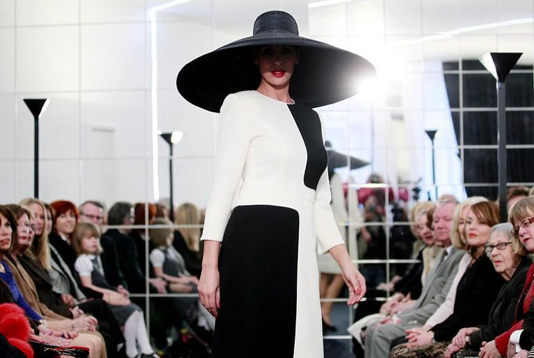 A Model Presents a Creation by Dutch Fashion Designer Frans Molenaar  