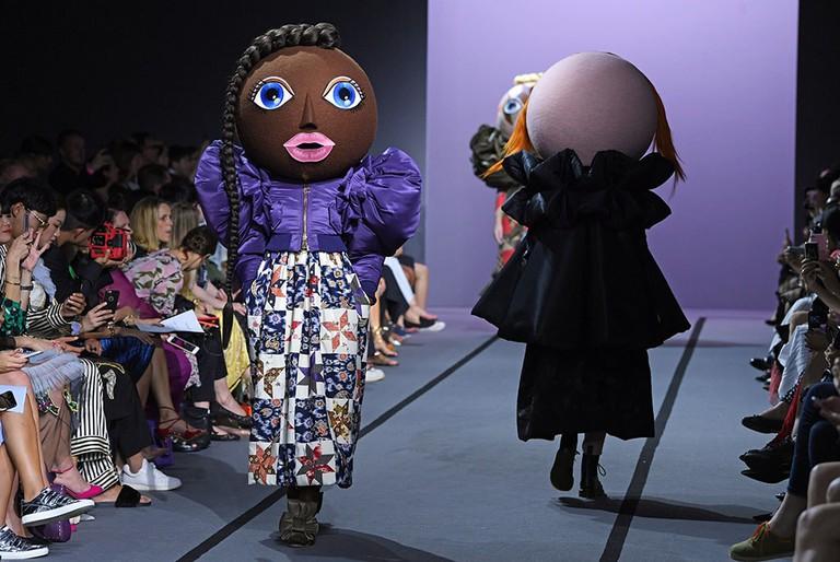 Model on the catwalk of Viktor & Rolf show, 2017