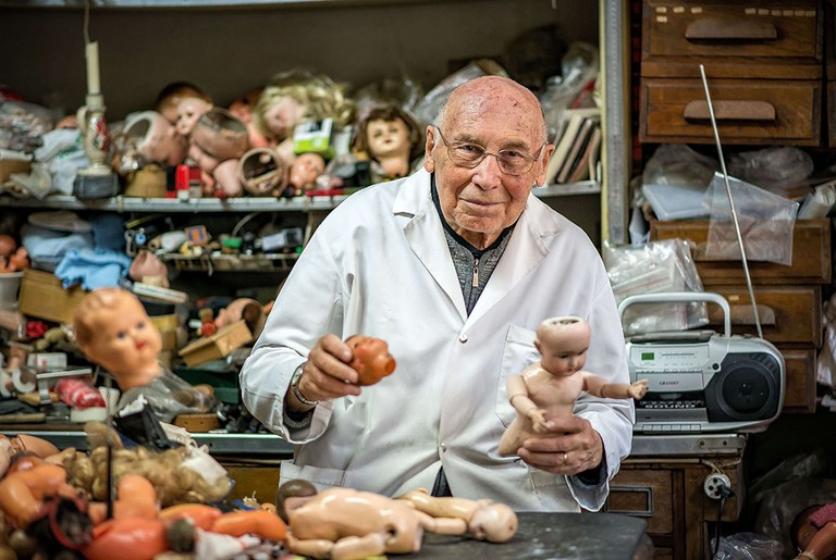 Henri Launay has been fixing dolls since 1964