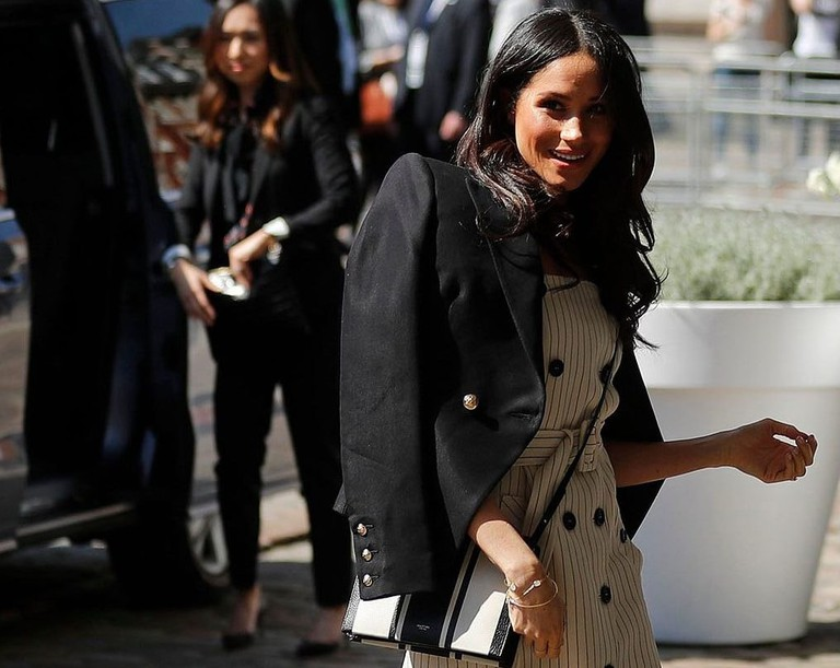 Meghan Markle arrives at the Queen Elizabeth II Center during the Commonwealth Heads of Government Meeting in London