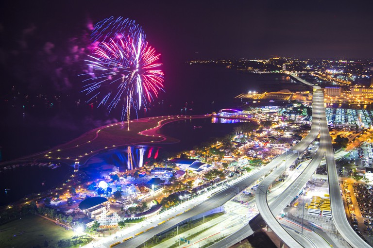 Fireworks – Summerfest, 2017 – Overview of festival grounds, located on shores of Lake Michigan in downtown Milwaukee, WI