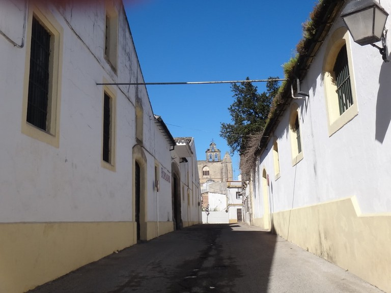 A street in San Mateo, with the San Mateo church visible a little way off