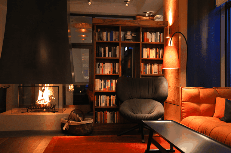 Orania.Salon complete with fire and library