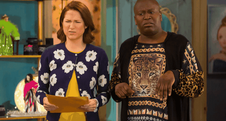"Ellie Kemper and Tituss Burgess in ""Unbreakable Kimmy Schmidt"""