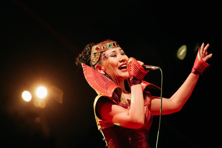 A woman performs at 2018 Hue Festival
