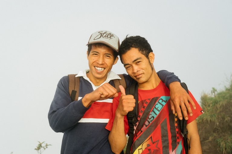It's a thumbs up for these two Mount Batur guides
