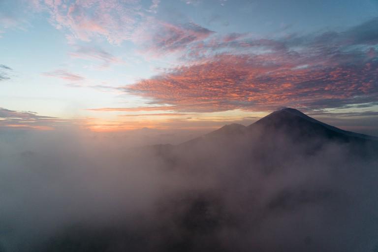 Mount Batur pictured at sunrise