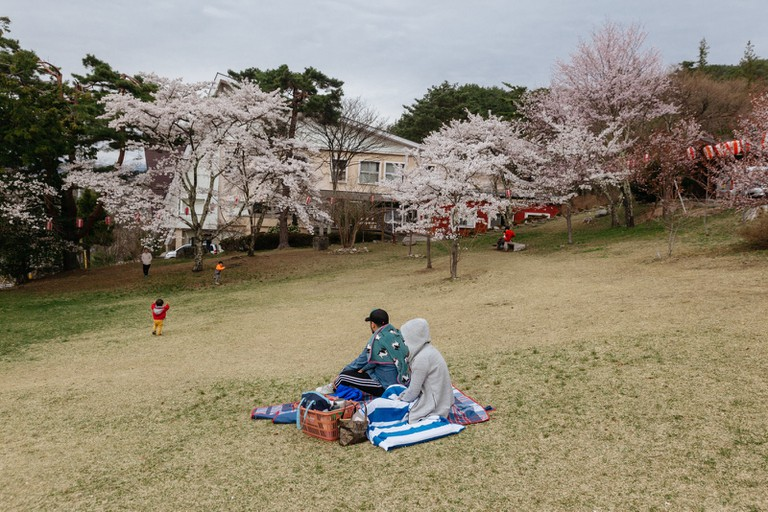 A couple having a hanami picnic in a garden on top of a hill in Kita Omachi. (Kita Omachi is just one stop away from Shinano Omachi Station via the Oito line)