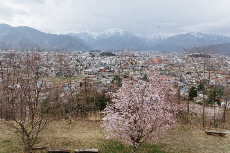 Omachi town seems to slumber under the watchful eye of the Northern Alps