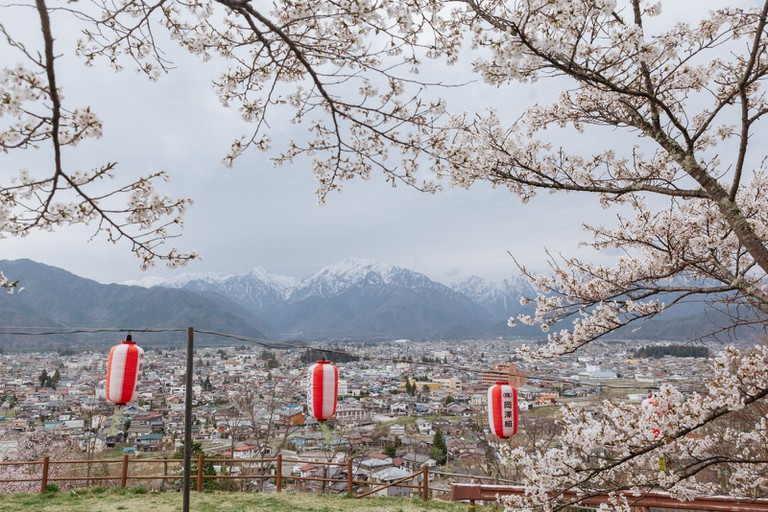 The Northern Alps seen from Omachi through the sakura is breathtaking.