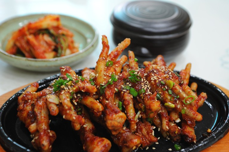 Dalkbal, or chicken feet, are a popular drinking food in South Korea.