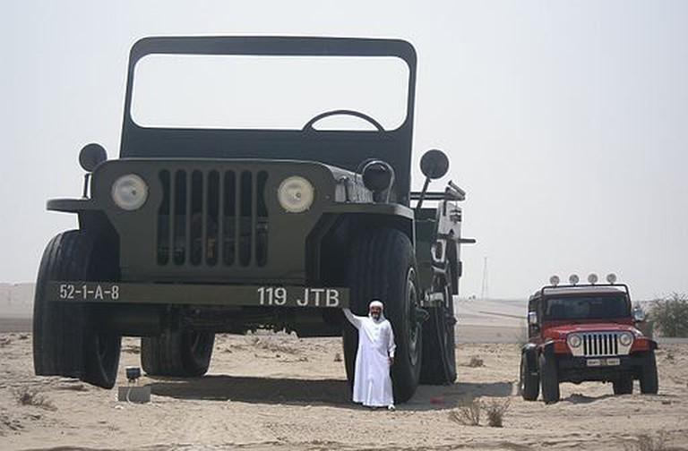Sheikh_Hamad_bin_Hamdan_Al_Nahyan_with_largest_model_Willys_jeep_2009