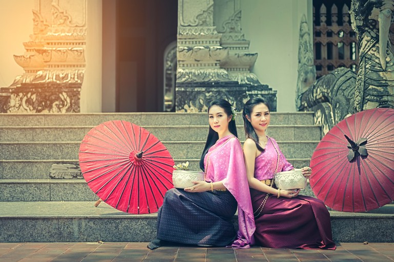 Thai women in Thai national dress