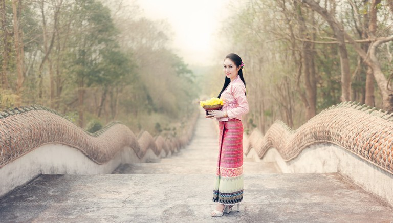 Thai woman in Thai national dress