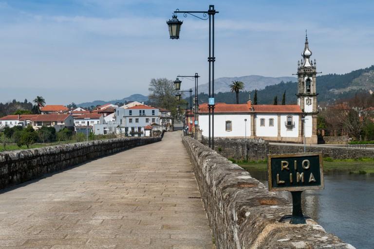 Rio Lima in Ponte de Lima, Camino de Santiago , Portugal