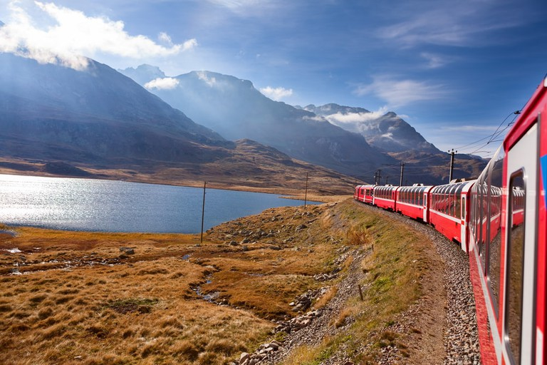 Atmospheric views from the iconic red Bernina express train | Shutterstock/pinggr