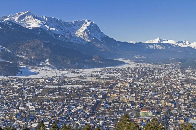 Garmisch Partenkirchen and the mountains Zugspitze and Alpspitze
