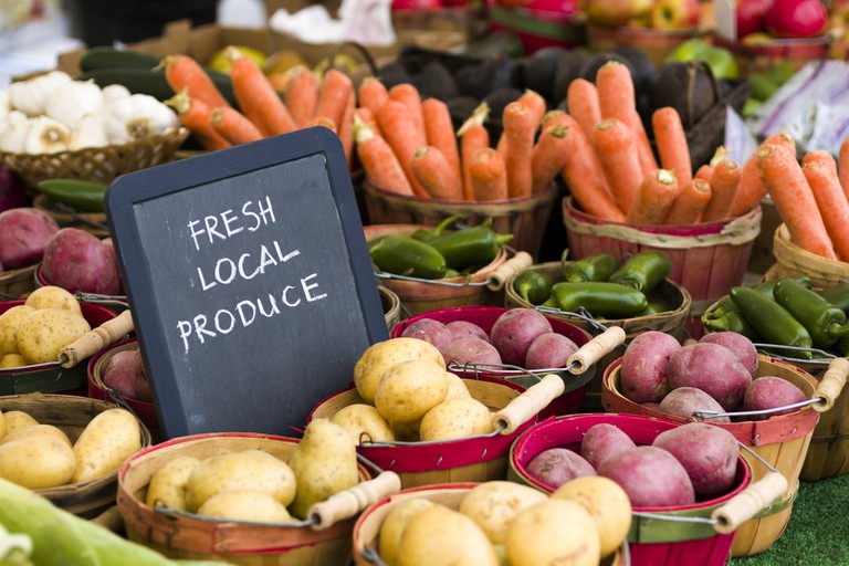 Fresh produce on sale at the local farmers market