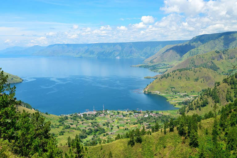 Lake toba in North Sumatra, Indonesia