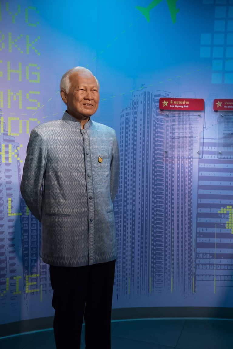 General Prem Tinsulanonda wearing formal chut Thai for men on display at Madame Tussauds, Bangkok