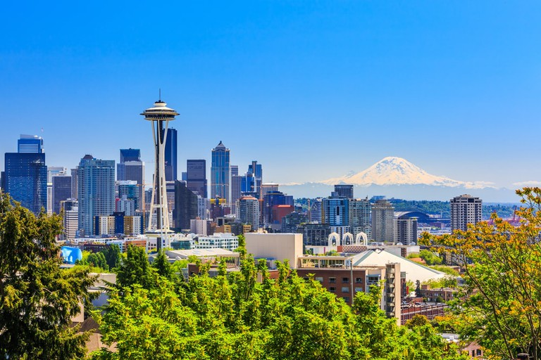 Seattle downtown skyline and Mount Rainier