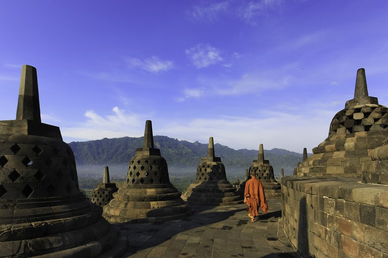 Borobudur is a 9th-century Mahayana Buddhist Temple in Magelang, Central Java, Indonesia