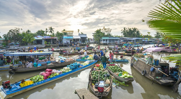 A colorful floating market in Can Tho, Vietnam