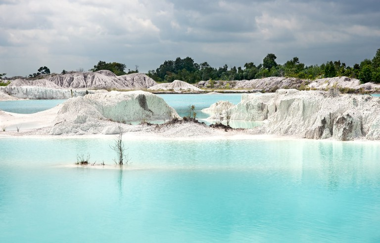 Clear blue man made lake, Tanjung Pandan, Belitung Island.