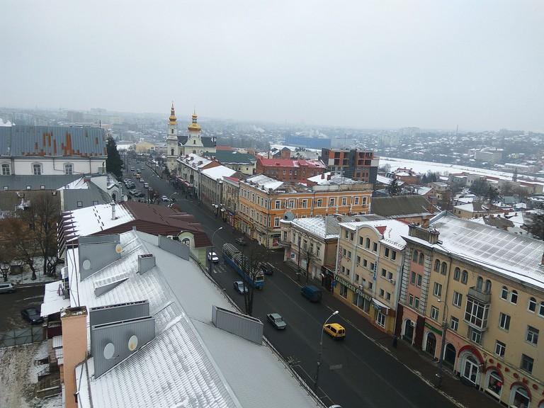 Soborna_street_in_Vinnytsia_(January_2018)