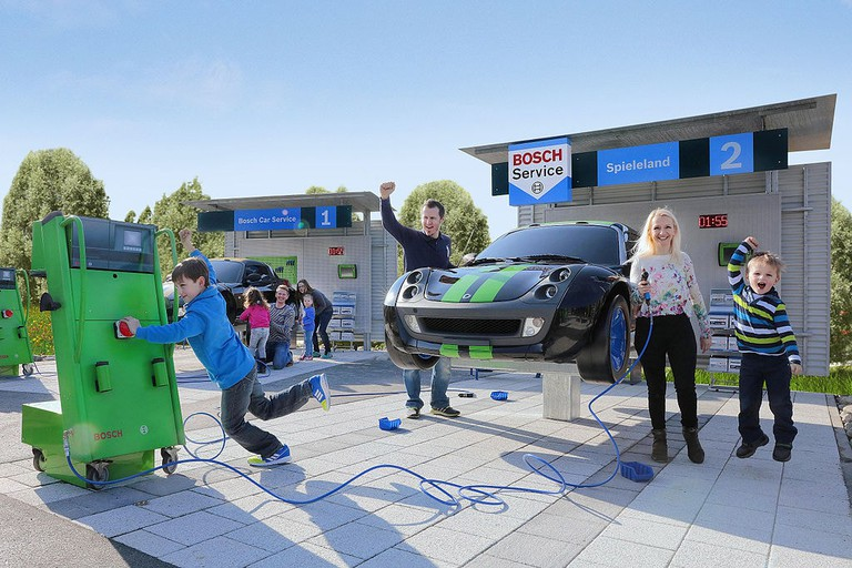 An auto repair station for kids at the Ravensburger theme park