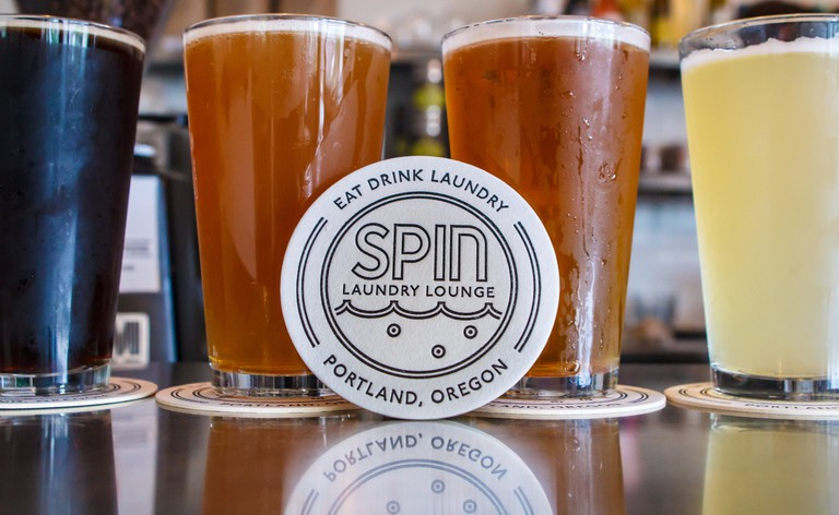 Sip a microbrew while doing laundry at Spin.