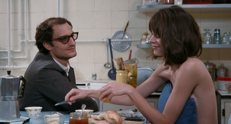 """Jean-Luc Godard (Louis Garrel) and Anne Wiazemsky (Stacy Martin) in """"Godard Mon Amour"""""""