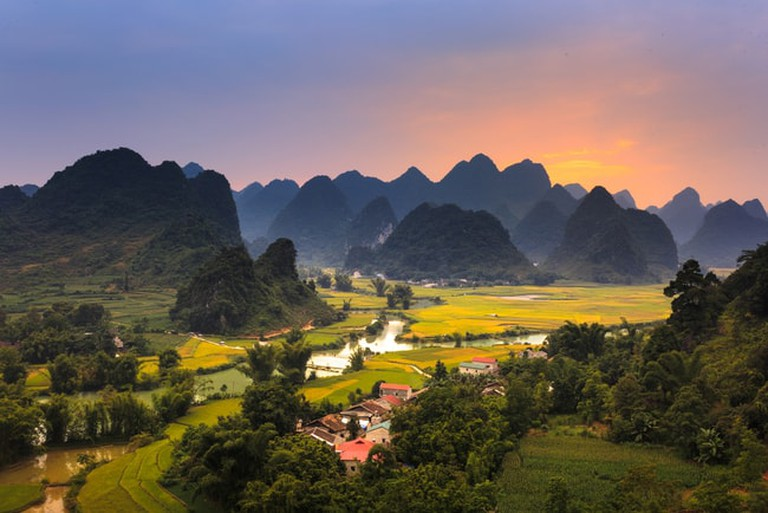 Sunset on the area near mountain Phong Nam, Cao Bang Province, Vietnam