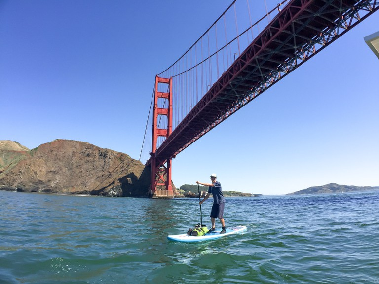 Stand Up Paddle Boarding under the Golden Gate Bridge