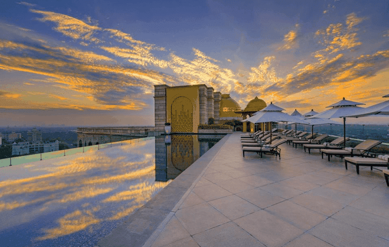The infinity pool at The Leela Palace New Delhi is the city's highest and only rooftop pool