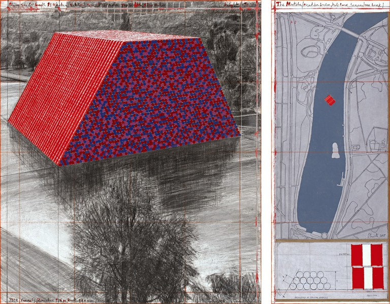 Christo, The Mastaba (Project for London, Hyde Park, Serpentine Lake), Drawing 2017