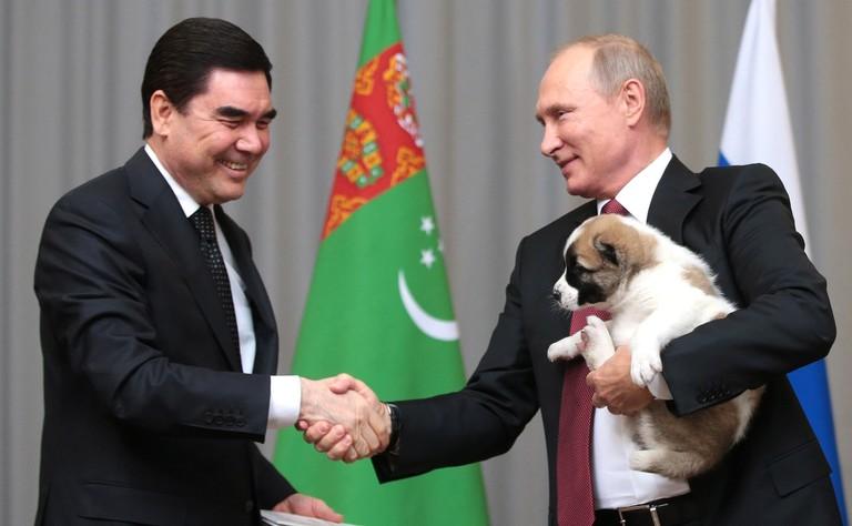 Vladimir Putin with the president of Turkmenistan