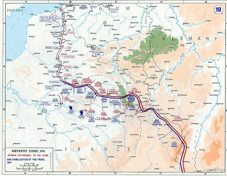 The Western Front in 1914, France |© Public domain / WikiCommons