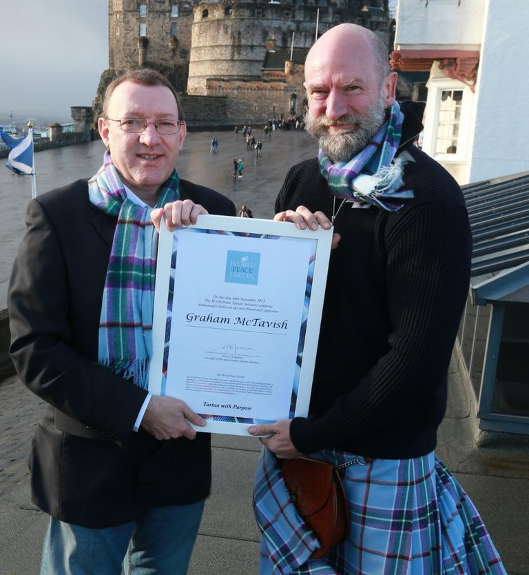 World Peace Tartan Ambassador And Scottish Actor Graham McTavish With World Peace Tartan Initiative Founder Victor Spence