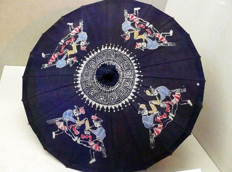 Buyi Flute-playing depicted on a parasol