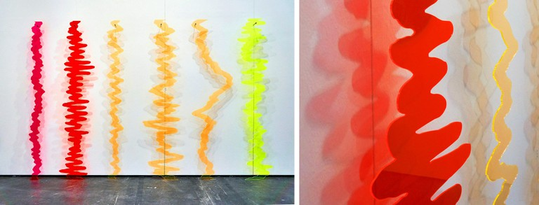 Maria Teresa Ortoleva, 'Glossary for the Script of an Electric Thought' (2017), Installation view and detail, fluorescent acrylic, 175 x 300 x 10 cm, private collection   © Maria Teresa Ortoleva