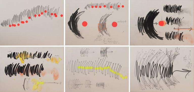 Maria Teresa Ortoleva, 'Handtrack of an Electric Thought I, II, III, IV, V and V' (2017), mixed media on wood pulp finnboard, 35 x 25cm each | © Maria Teresa Ortoleva