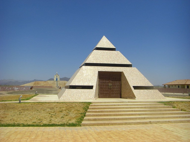 The pyramid and the Chapel on the Hill sit across from each other.