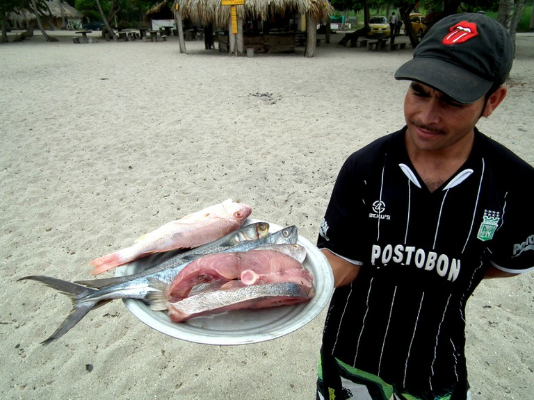 Choosing a fish for lunch on the Colombian Caribbean coast