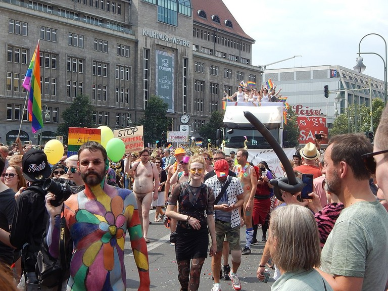 A colourful crowd celebrate Christopher Street Day in Berlin