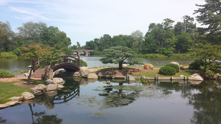 Jackson Park's Garden of the Phoenix is a traditional Japanese garden design with a koi pond and bridge