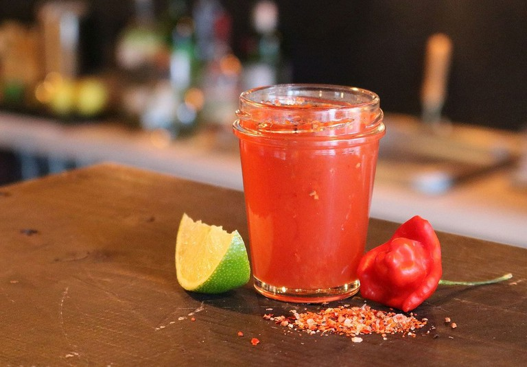 Mexikaner, a shot made of a spirit, sangrita, tomato juice and spices